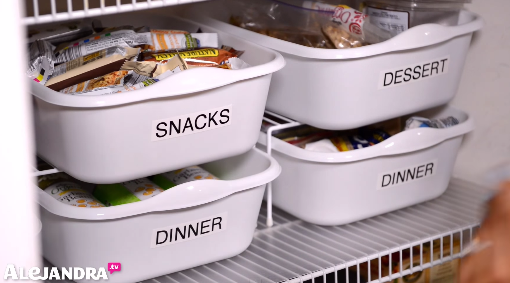 Cheap Pantry Organizing Tip: Use Dollar Store Dishpans to Organize Snack & Dinner Foods in the Pantry #AlejandraTV